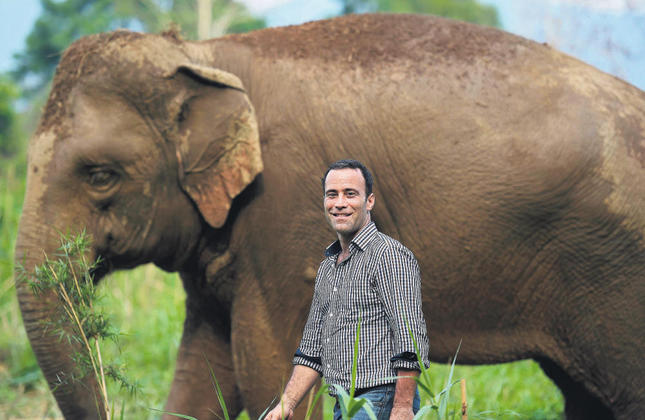 Dinkin also teamed up with an elephant rescue charity that saves the creatures from the tourism.