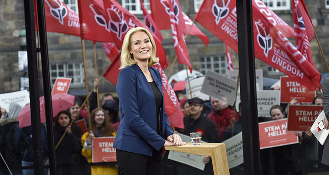 Danish Prime Minister Helle Thorning-Schmidt attends the first one-on-one debate of the Danish election 2015 with Danish opposition leader Lars Loekke Rasmussen (unseen) of the Venstre party, in Copenhagen, 31 May 2015 (EPA Photo)
