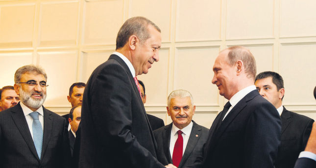 President Erdoğan (L) met with his Russian counterpart Putin in Baku to discuss energy projects along with the situation in Syria.