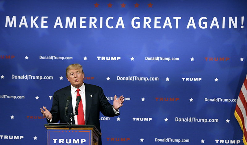 Republican presidential candidate Donald Trump speaks to supporters during a rally, Tuesday, June 16, 2015, in Des Moines, Iowa. (AP Photo)