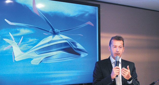 Airbus Helicopters CEO Guillaume Faury speaks during the launch of the Airbus Helicopters X6 concept phase at the 51st International Paris Air Show.