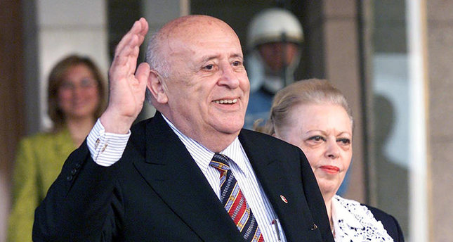 A file picture dated 16 May 2000 shows former Turkish President Suleyman Demirel, flanked by his wife Nazmiye Demirel, after the handing over of power to the back then Turkish President Ahmet Necdet Sezer in Ankara, Turkey (EPA)