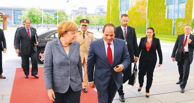 Egyptian President Abdel Fattah el-Sissi was warmly welcomed by German Chancellor Merkel two weeks ago in Berlin. (AA Photo)