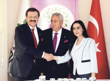 TOBB head Hisarciklioğlu (L) and TESK head Palandöken (C) visited HDP Co-Chair Yüksekdağ (R).