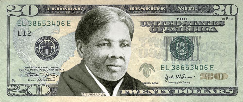 An illustrative $20 dollar bill featuring Harriet Tubman