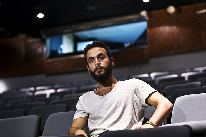 Bashar Murkus, author and director of 'A Parallel Time,, sits in Almidan theater during an interview, in the Israeli northern city of Haifa June 17, 2015 (Reuters Photo)