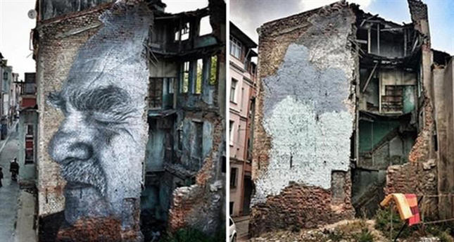 JR's graffiti on building in Istanbul ruined, sparking outrage
