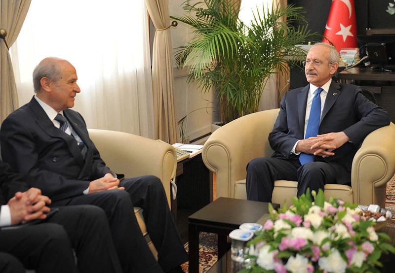 Chairman of CHP Kemal Ku0131lu0131u00e7darou011flu (R) with MHP chairman Devlet Bahu00e7eli (L) (Sabah Photo)