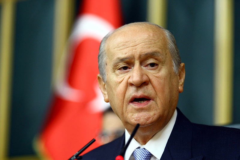 Devlet Bahu00e7eli talking at his party's group meeting (Mehmet Acar Photo)