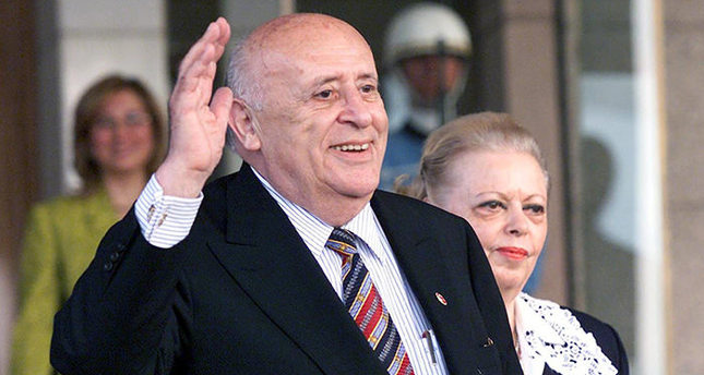 A file picture dated 16 May 2000 shows former Turkish President Suleyman Demirel, flanked by his wife Nazmiye Demirel, after the handing over of power to the back then Turkish President Ahmet Necdet Sezer in Ankara, Turkey. (EPA Photo)