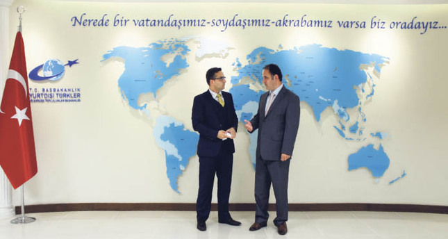 Presidency for Turks Abroad and Related Communities Chairman Kudret Bülbül (R) and Daily Sabah's Ali Ünal