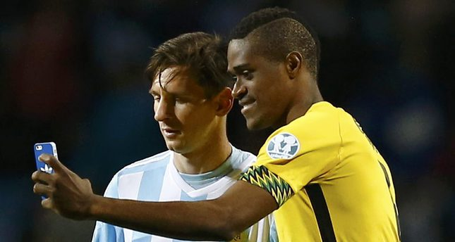 Jamaica's DeShorn Brown takes a selfie with Messi following their first round Copa America 2015 match.