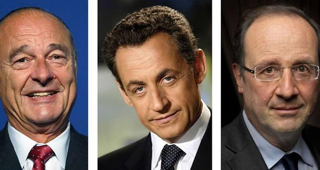 Jacques Chirac L, Nicolas Sarkozy C and François Hollande AFP Photo