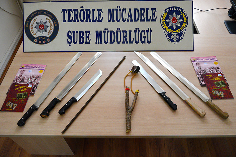 Sharp objects and explosives possessed by the YDG-H were confiscated by police in a previous operation on June 17 (AA Photo)
