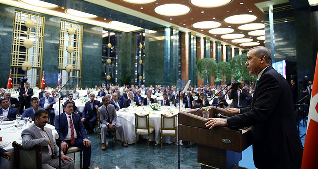 President Recep Tayyip Erdoğan addressing local chiefs at an iftar dinner at the Presidential Palace on Wednesday July 24, 2015 (Sabah Photo)