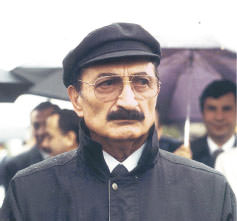 Bülent Ecevit, left-wing politican and former prime minister of Turkey, with his zedushka hat.