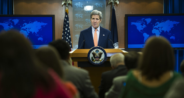 Secretary of State John Kerry speaks to the media after the State Department released it's annual human rights reports, Thursday, June 25, 2015