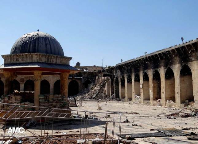 The Umayyad Mosque, a UNESCO World Heritage site, has been  seriously damaged during the civil war between President Bashar Assad's regime and anti-government forces.