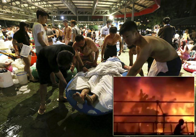 The bottom right is from video footage provided by Apple Daily from reader Miss Huang, showing revelers being engulfed by flames at the Formosa Fun Coast water park in Pali district, in New Taipei City, on June 27, 2015.