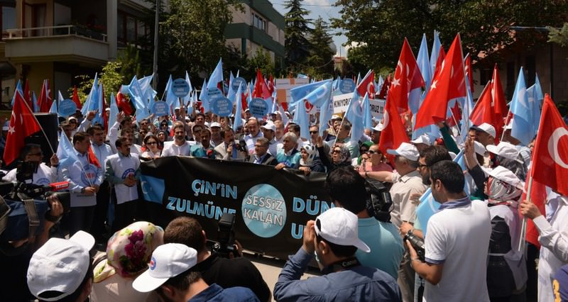 Activists in Ankara waved Turkish flags and flags of u2018East Turkestan' in their protest against China over the persecution of Uighurs, a Turkic community. Turkey hosts hundreds of Uighurs fleeing China due to oppression.
