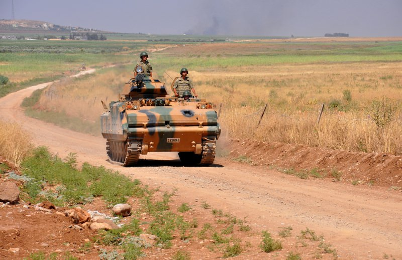 An armored vehicle patrolling along the Turkish border.