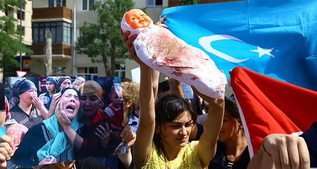 Turkish people gathered outside the Chinese Consulate to protest China's restrictions on Uighur Muslims AA Photo