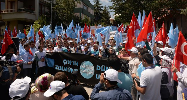 Activists in Ankara waved Turkish flags and flags of 'East Turkestan' in their protest against China over the persecution of Uighurs, a Turkic community. Turkey hosts hundreds of Uighurs fleeing China due to oppression.