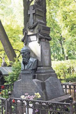 The tomb of Dostoyevski at Tikhvin Cemetery.