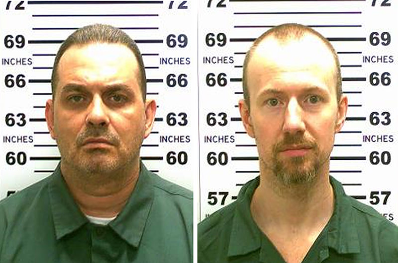 This combination of booking photos received on June 7, 2015, courtesy of the office of New York State Police, shows convicted murderers David Sweat(R) and Richard Matt. (AFP Photo)