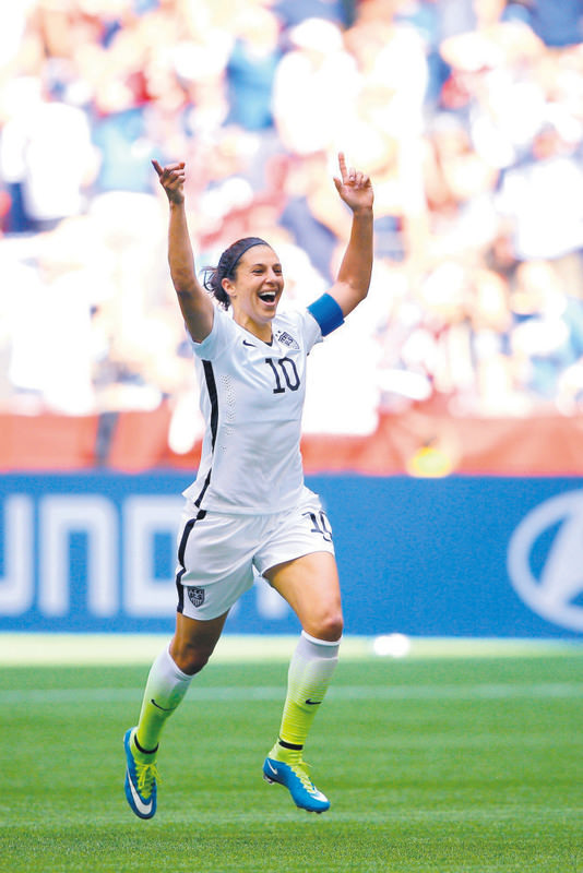 U.S. women's captain Carli Lloyd scored a hat-trick in the 5-2 victory over Japan including an incredible strike from the halfway line.