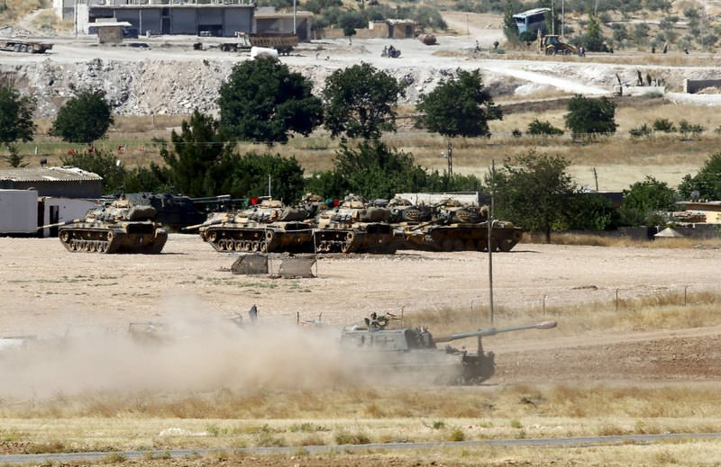 A Turkish Army vehicle leaves its base in Suruu00e7, bordering the Syrian town of Suruu00e7.