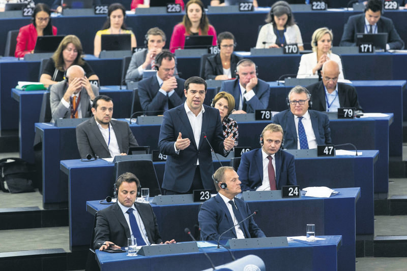 Greek PM Tsipras (c), delivered his speech at the European Parliament in Strasbourg on Wednesday.