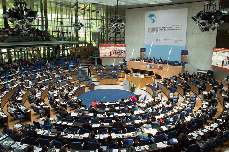 Delegates attend the 39th meeting of the UNESCO World Heritage Committee in Bonn, Germany, 29 June 2015 (EPA Photo)