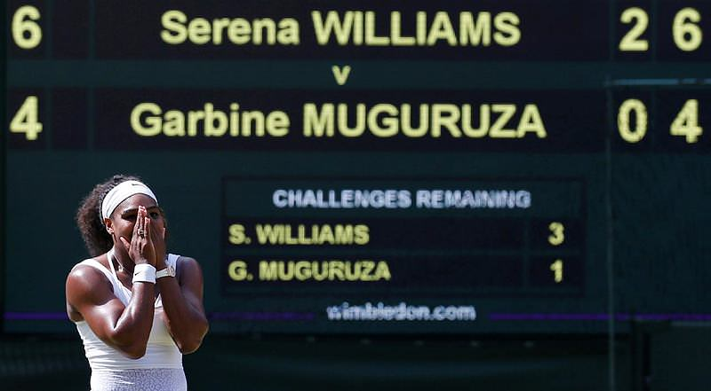 Serena Williams celebrates after winning her Women's Final match against Garbine Muguruza at the Wimbledon Tennis Championships in London, July 11, 2015. (Reuters Photo)