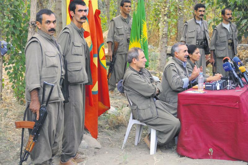 Senior PKK figure Murat Karayu0131lan speaking in a press conference in northern Iraq's Qandil Mountains where the PKK is headquartered.