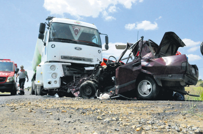 The scene of an accident in the western city of Uu015fak in which four people were killed on July 9.