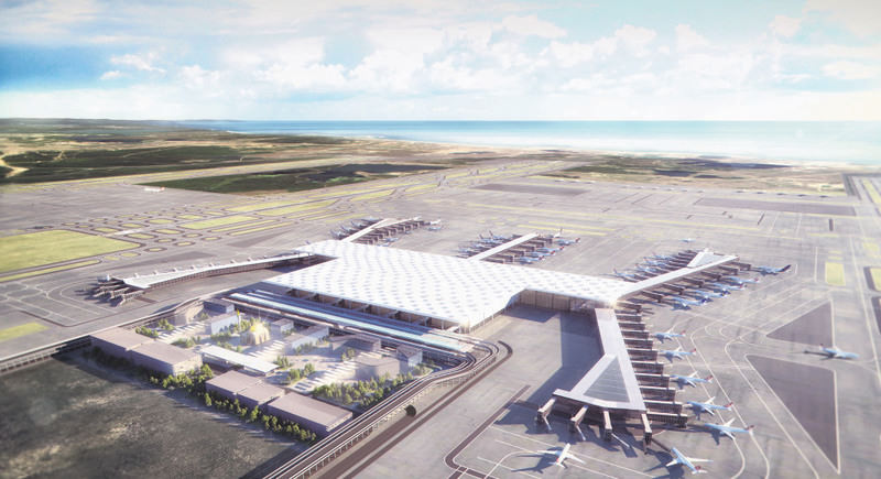 A model of Istanbul's third airport (above), which is estimated to cost 10 billion euros, is pushing the real estate prices up in the region.
