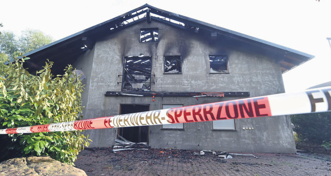 Exterior view on a planned refugees home that burnt down on July 18 in Remchingen, Germany.