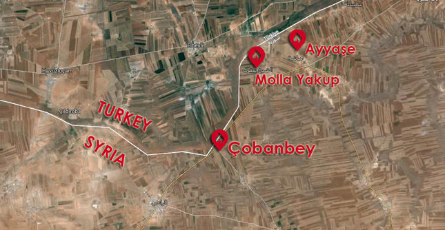 Areas where Turkish military hit ISIS targets in today's armed conflict: Local sources (Image from Google Earth)