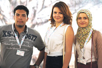 Ahmed Basem Elsayed Mahmoud, Egypt (l), Anna Shmyk, Ukraine (c) and Zehra Huduti (r), Kosovo, are brilliant students, all speak at least four different languages and have been chosen as among the best students from their universities.