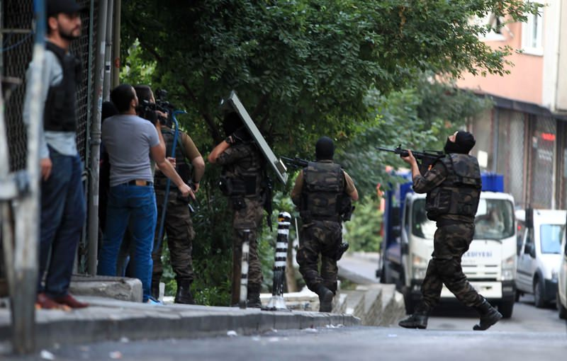 A counterterrorism unit raiding a location in Istanbul in the early hours of Friday.