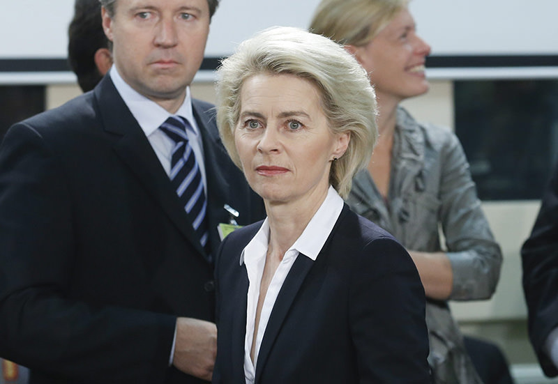 German Defense Minister Ursula Von der Leyen looks on as she attends the second day of the Nato Defense Ministers council at alliance headquarters in Brussels, Belgium, 25 June 2015 (EPA photo)