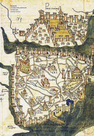 A Byzantine-era map shows the gates of Constantinople.