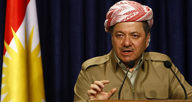 Masoud Barzani, president of the autonomous northern Kurdish region in Iraq, addresses the media after his meeting with Shiite leader Ammar al-Hakim of the influential Supreme Iraqi Islamic Council in Arbil, on March 17, 2012 (AFP Photo)