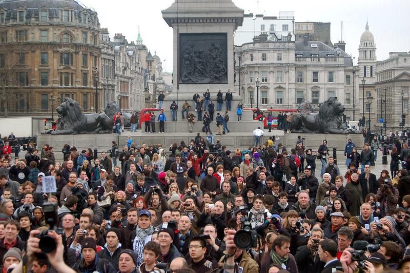 Demonstrators protest against ,Terro-Bill, in London's Trafalgar Square.