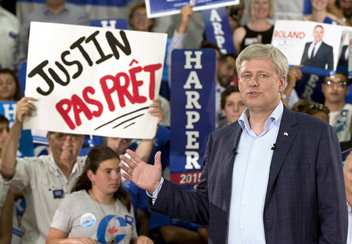 Canadian Prime Minister Stephen Harper speaks to supporters during a rally in Montreal, Quebec, Canada August 2, 2015 (Reuters Photo)