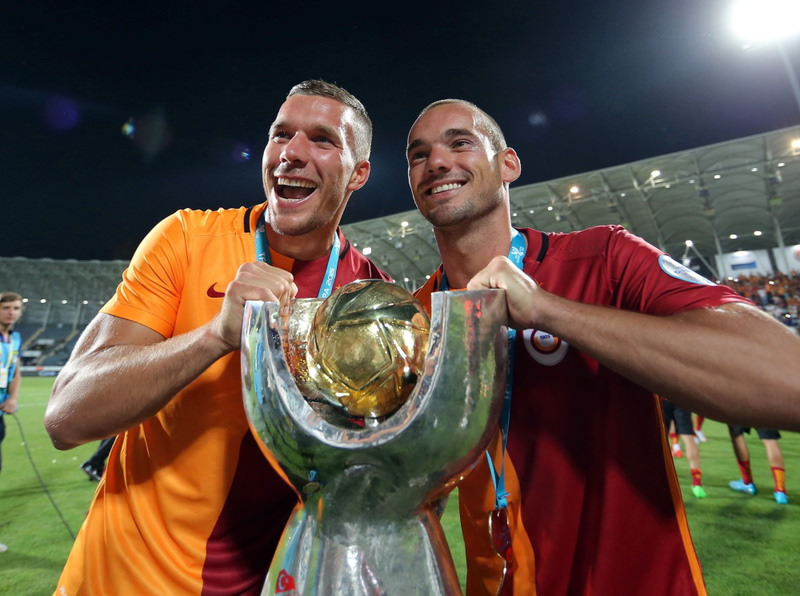Galatasaray's star players Lucas Podolski and Wesley Sneijder said they were very happy to start the season with a trophy.