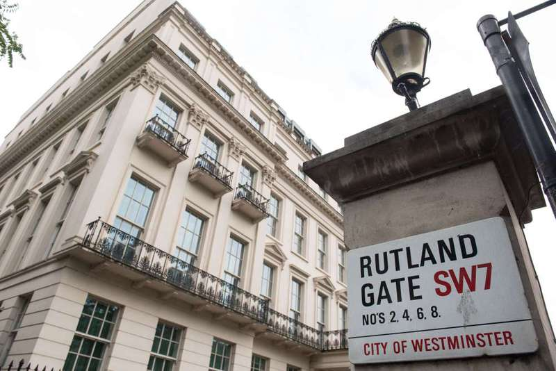 The facade of 2-8a Rutland Gate, which is thought to be the most expensive home ever marketed in Britain, in central London listed with a 300 million pound asking price.