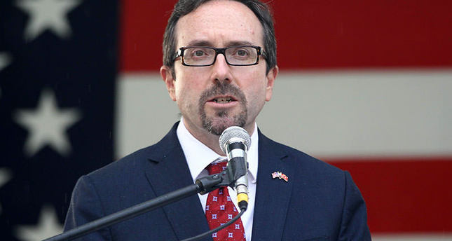 US ambassador to Turkey John Bass delivers a speech at the ambassador's residence in Ankara on July 2, 2015 during an early reception for US Independence Day on July 4 AFP photo