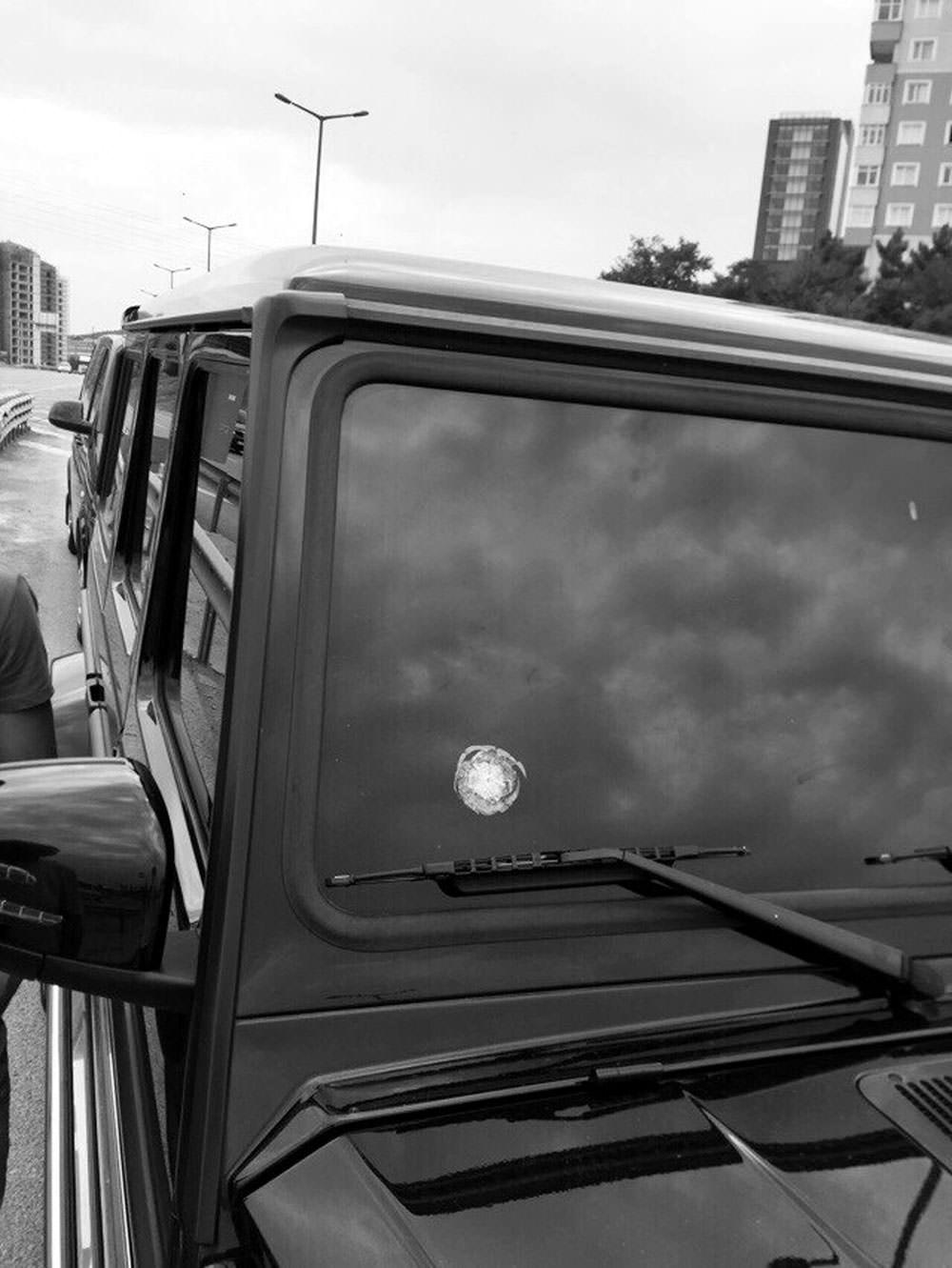 Bullet mark that hit bullet-proof glass of Topal's car